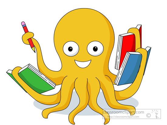 octopus reading multiple book in hands clipart